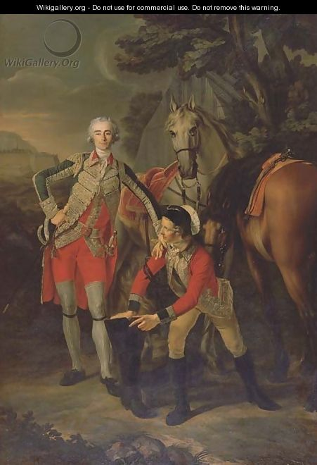 Portrait of Charles Grant, vicomte de Vaux, in uniform as a Lieutenant Colonel of the Garde du Roi, attended by his groom with their horses - Louis Rolland Trinquesse