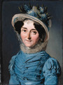 Portrait of a lady, small bust-length, in a blue dress and a hat decorated with flowers - Louis Léopold Boilly