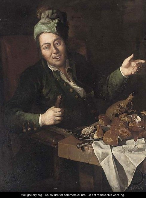 A man eating and drinking at a partly-draped table in an interior - Lombard School