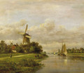 A summer landscape with vessels on a river - Lodewijk Johannes Kleyn