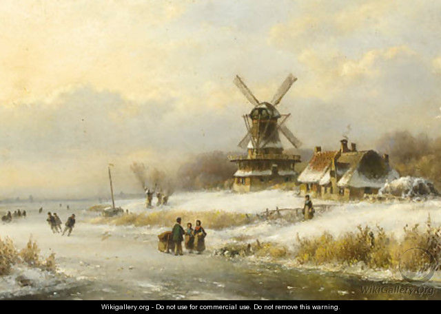 Skaters on a frozen waterway by a windmill - Lodewijk Johannes Kleijn