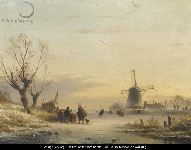 Numerous figures and a koek en zopie on the ice - Lodewijk Johannes Kleijn