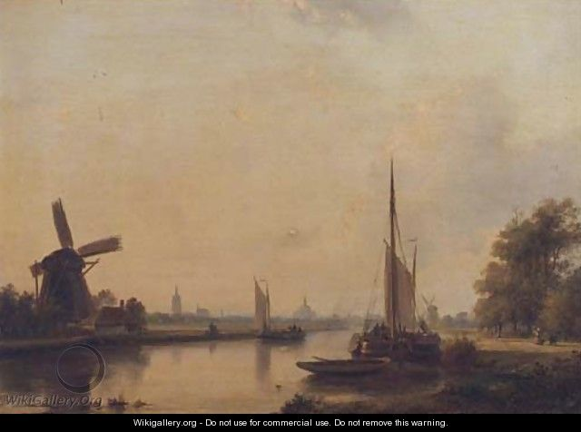 Moored vessels on the Vliet, The Hague beyond - Lodewijk Johannes Kleijn