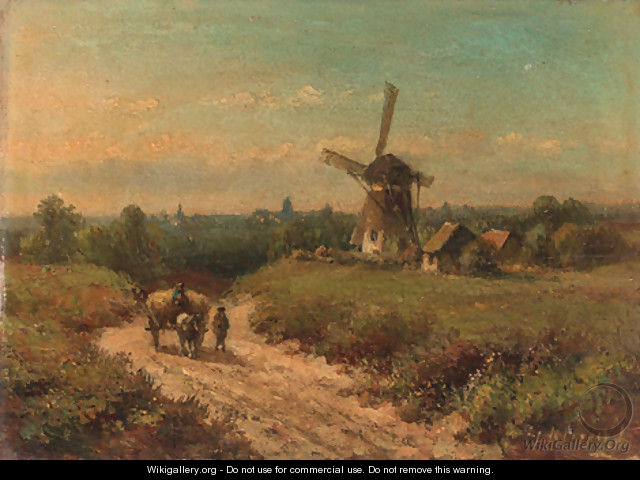 Harvesters on a sandy track by a windmill - Lodewijk Johannes Kleijn