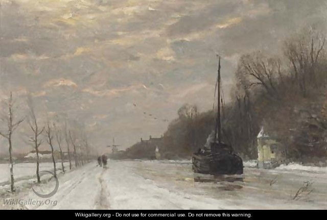 By the canal in winter at dusk - Louis Apol