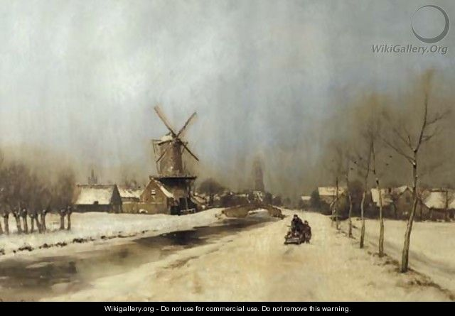 A view of the outskirts of Delft in winter - Louis Apol