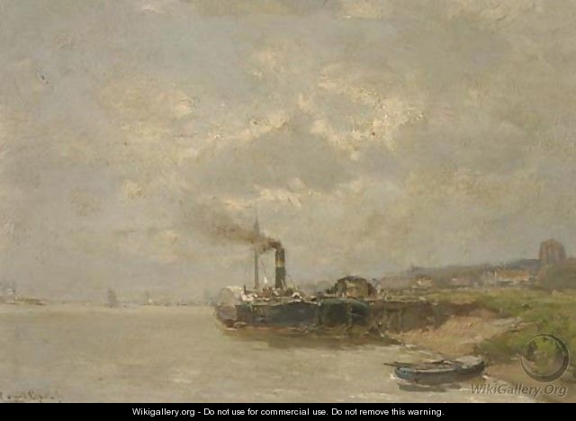A paddle-steamer along a jetty - Louis Apol