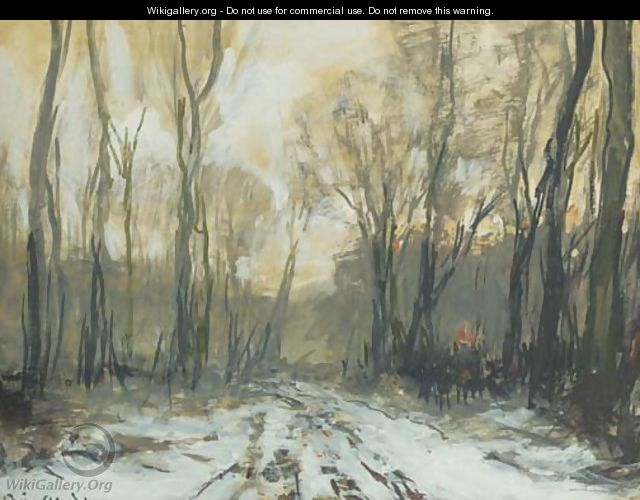 A forest path in winter - Louis Apol