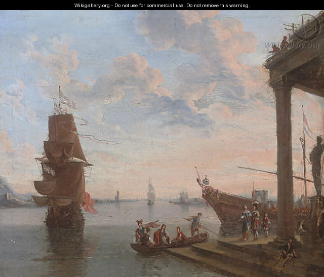 A capriccio of a Mediterranean harbour with elegant figures disembarking, shipping beyond - Lorenzo A. Castro