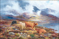 Highland Cattle by a Loch 2 - Louis Bosworth Hurt