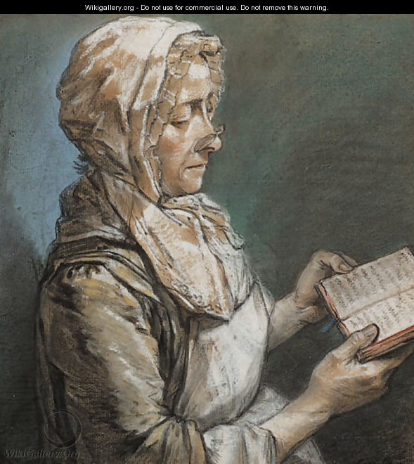 A lady seated in profile to the right reading a book - Louis Aubert