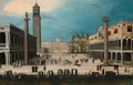 A Carnival in the Piazzetta, Venice, looking towards the Piazza San Marco - Louis De Caullery