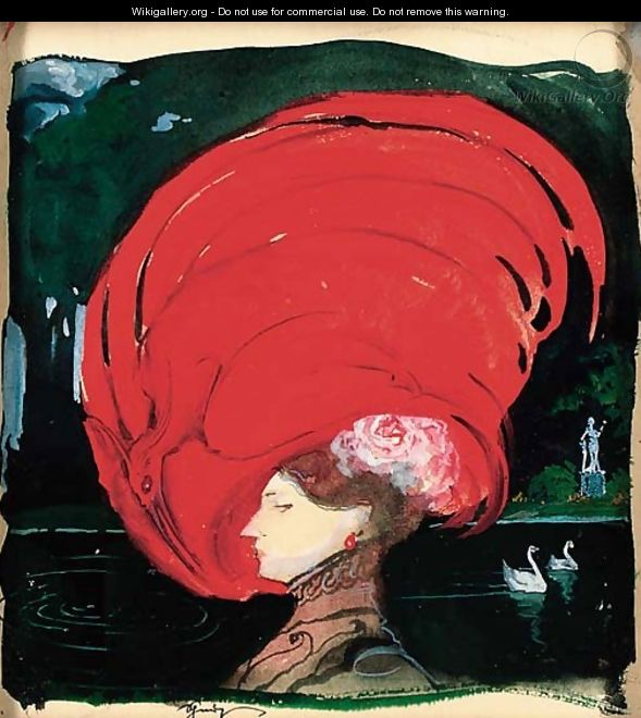 A lady in a large red hat - Leon Schnug