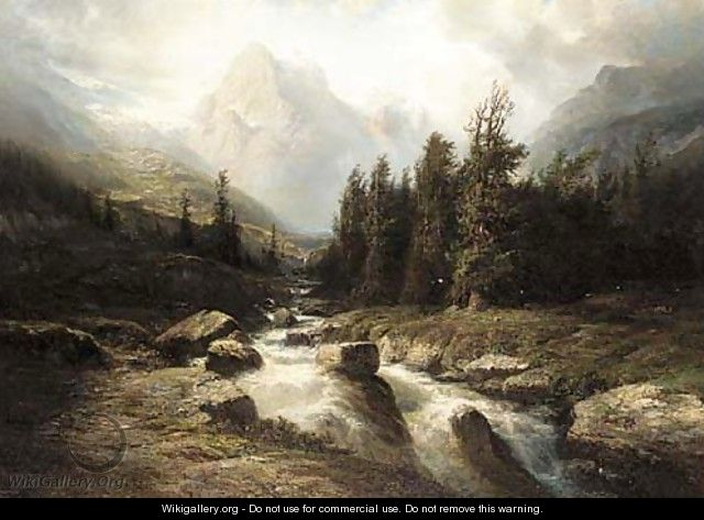 An Alpine torrent - Leberecht Lortet