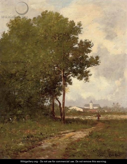 Walking on a path at the edge of a wood - Leon Richet