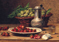 Plums In A Basket, Strawberries On A Plate, A Wine Glass, And A Pewter Jug On A Table - Leon Charles Huber