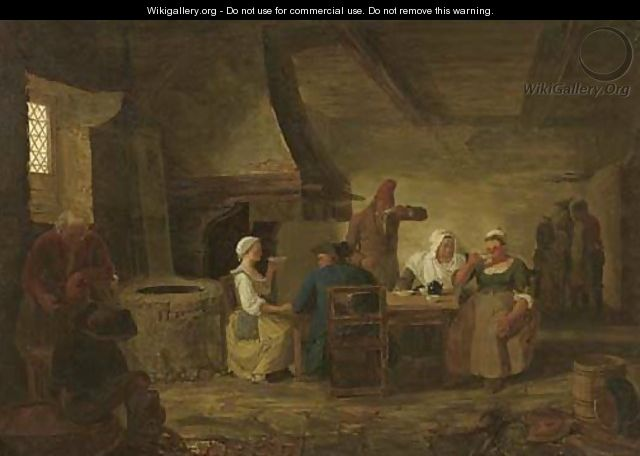 The interior of an inn with peasants seated by a table drinking tea - Leonard Defrance