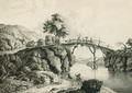 Herders with cattle crossing a bridge with anglers below; and Figures with a horse and cart crossing a bridge - Lieutenant Thomas Yates