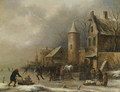 Peasants skating on a frozen river by an inn by a watchtower - Claes Molenaar (see Molenaer)