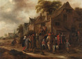 Peasant players in a village street - Claes Molenaar (see Molenaer)