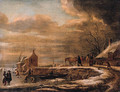 A winterlandscape with a horse-drawn sledge on a road by a farmhouse, kolfers and skaters on a frozen waterway nearby - Claes Molenaar (see Molenaer)