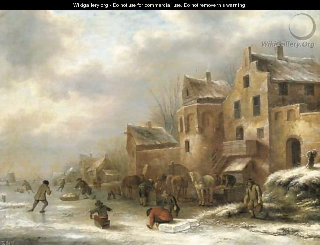 A winter landscape with skaters by a village - Claes Molenaar (see Molenaer)