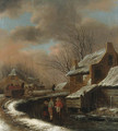A Winter Landscape with Peasants in a Village, travellers in a cart on a path beyond - Claes Molenaar (see Molenaer)