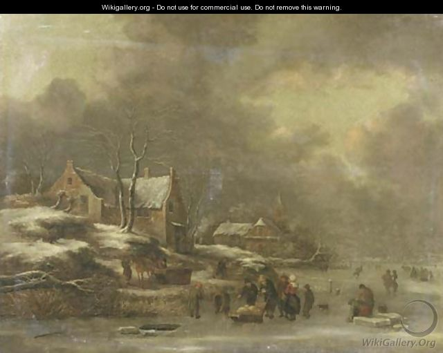 A winter landscape with figures skating on frozen water, a village nearby - Claes Molenaar (see Molenaer)
