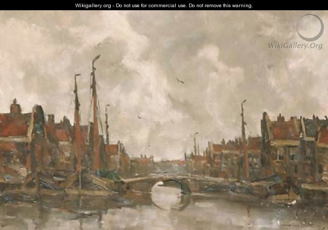 View of a Dutch harbour - Kees Van Waning