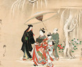 A courtesan procession in the snow - Kawamata Tsunemasa