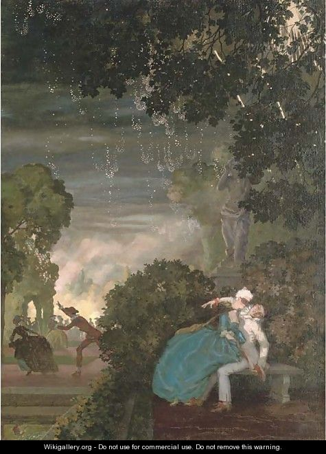 Pierrot and a lady - Konstantin Andreevic Somov