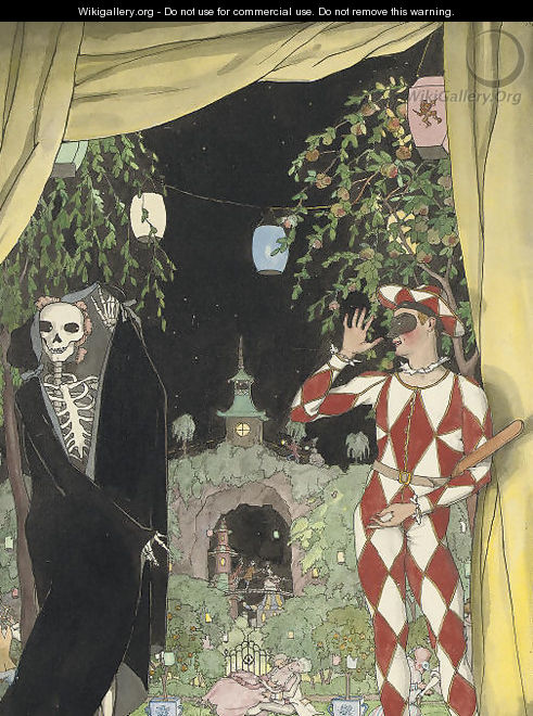 Harlequin and death - Konstantin Andreevic Somov