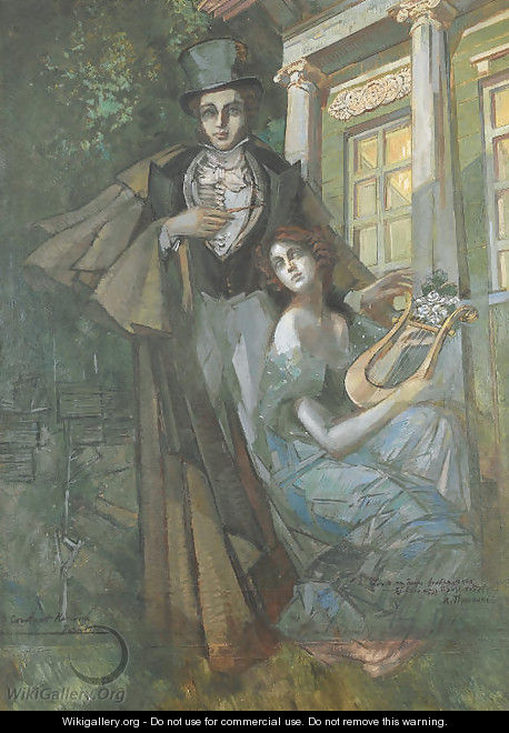 Pushkin and Muse - Konstantin Alexeievitch Korovin