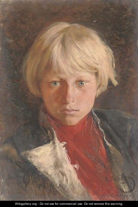 Portrait of young boy with blond hair - Klavdiy Vasilievich Lebedev