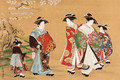 Courtesans on parade beneath a blossoming cherry - Kubo Shunman