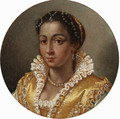 Portrait of a girl, bust-length, in a yellow silk dress with a lace collar - Lavinia Fontana