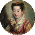 Portrait of a girl, bust-length, in a pink and white embroidered dress, wearing a coral necklace - Lavinia Fontana