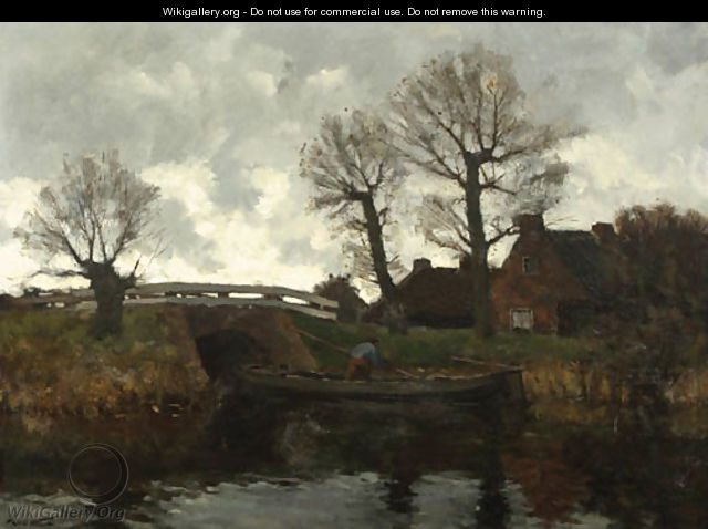 Landscape with a cottage and a fisherman on a canal - Laurent Van Der Windt