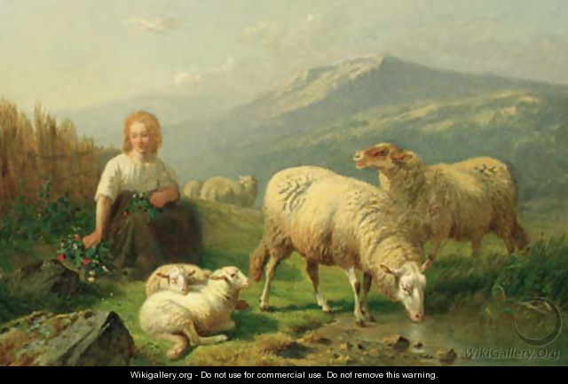 A young shepherdess and her flock in a mountainous landscape - Laurent De Beul
