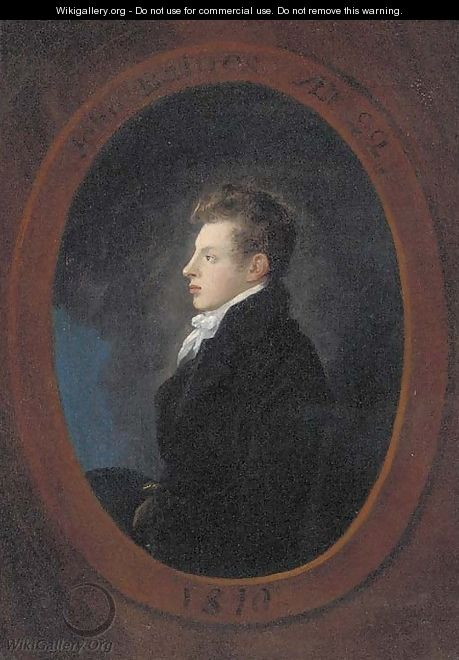 Portrait of John Baines aged 22, half-length, in profile, in a black coat, feigned oval - Julius Caesar Ibbetson