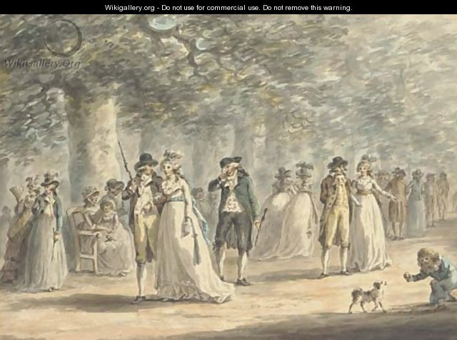 Fashionable figures promenading on the Mall, London - Julius Caesar Ibbetson