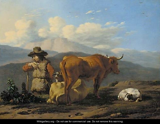 An Italianate landscape with a herdsman with cattle and a dog - Karel Dujardin