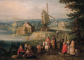 Travellers and peasants on a country road, a windmill beyond - Karel Beschey