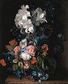 Lilies, roses, carnations and other flowers in a glass vase on a stone ledge with a butterfly - Justus van Huysum