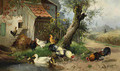 Roosters, Hens and Ducks on the Farm - Julius Scheuerer