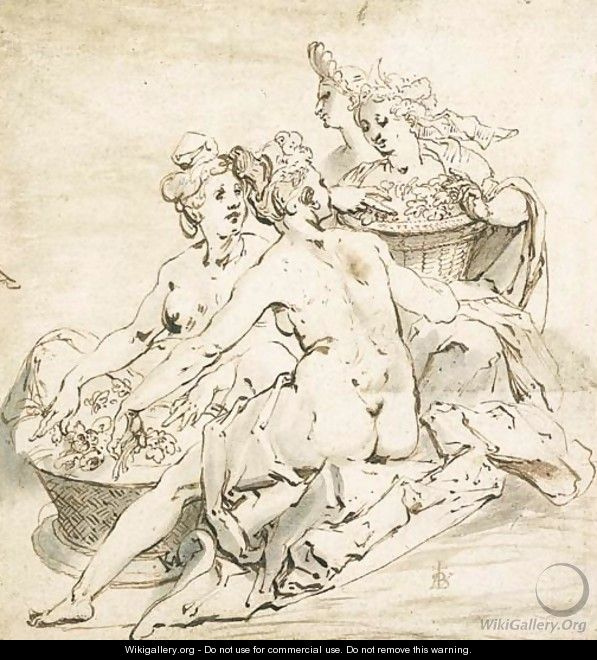 A group of four nude women holding two baskets of flowers - Karel Van Mander