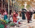 A flower seller on a tree-lined Parisian boulevard - Joan Roig Soler