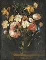 Roses, clematis, a tulip and other flowers in a glass vase on a wooden ledge with a butterfly - Juan De Arellano