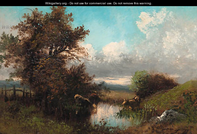 Cattle watering in a stream - Jules Dupre