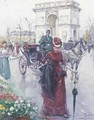 Elegant figures before the Arc de Triomphe - Joan Roig Soler
